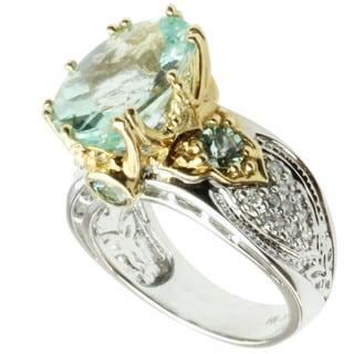 Michael Valitutti 14k Two-tone Gold Amblygonite, Sea Green Tourmaline and Diamond Ring