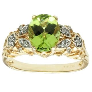 Michael Valitutti 14K Yellow Gold Green Peridot and Diamond Ring