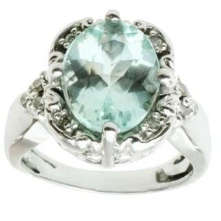 Michael Valitutti 14k White Gold Amblygonite and Diamond Ring