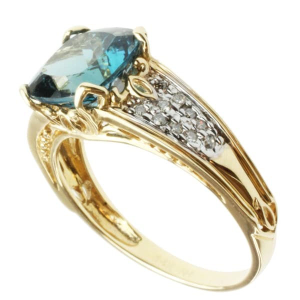 Michael Valitutti 14k Yellow Gold Blue Topaz and Diamond Ring