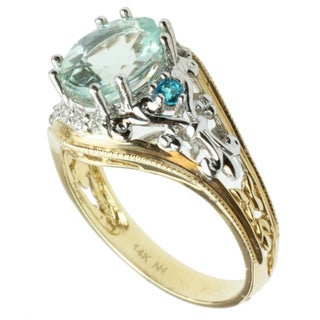 Michael Valitutti 14k Two-tone Gold Amblygonite, Apatite and Diamond Ring