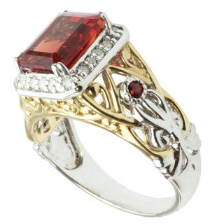 Michael Valitutti 14k Two-tone Gold Ruby Sunstone, Orange Sapphire and Diamond Ring