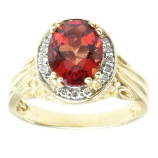 Michael Valitutti 14k Yellow Gold Ruby Sunstone and Diamond Ring