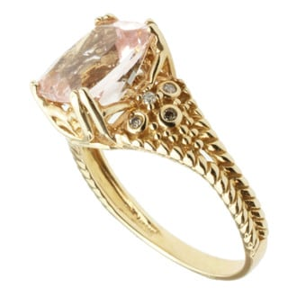 Michael Valitutti 14k Yellow Gold Morganite and Diamond Ring