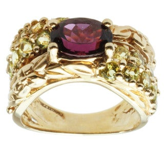 Michael Valitutti 14k Yellow Gold Grape Garnet and Canary Tourmaline Ring