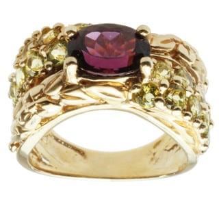 Michael Valitutti 14k Yellow Gold Grape Garnet and Canary Tourmaline Ring
