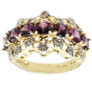 Michael Valitutti 14k Yellow Gold Rhodolite Garnet and Diamond Ring
