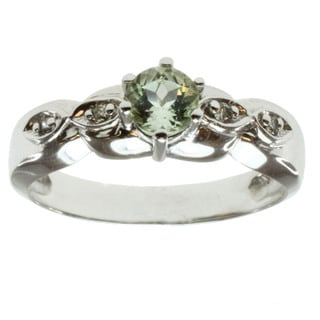 Michael Valitutti 14k White Gold Mint Tourmaline and Diamond Ring
