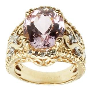Michael Valitutti 14K Yellow Gold Prong-set Kunzite and Diamond Ring