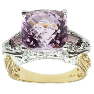 Michael Valitutti 14k Two-tone Gold Cushion-cut Kunzite, Rhodolite and Diamond Ring
