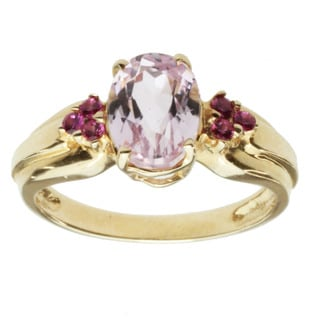 Michael Valitutti 14k Yellow Gold Kunzite and Pink Sapphire Ring