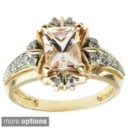 Michael Valitutti 14k Yellow Gold Morganite or Aquamarine and Diamond Ring