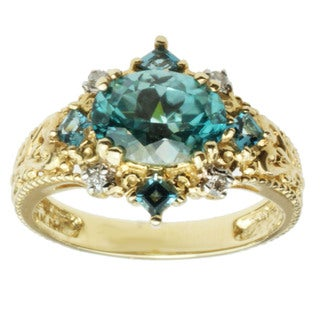 Michael Valitutti 14k Yellow Gold Blue Zircon, London Blue Topaz and Diamond Ring