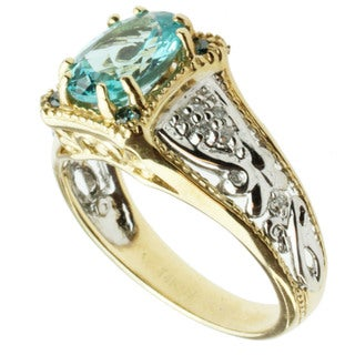 Michael Valitutti 14k Two-tone Gold Blue Apatite and Diamond Ring