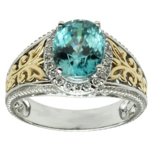 Michael Valitutti 14K Two-tone Gold Oval-cut Blue Zircon and Diamond Ring