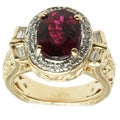 Michael Valitutti 14k Yellow Gold Red-and-pink Rubelite and Diamond Ring
