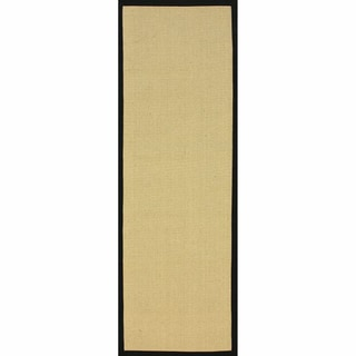 "Handmade Alexa Eco Natural Fiber Cotton Border Jute Runner Rug (2'6"" x 10')"