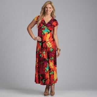 24/7 Comfort Apparel Women's Floral Print Maxi Dress