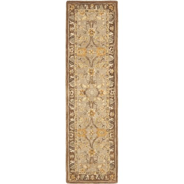 Safavieh Handmade Anatolia Dark Grey/ Brown Wool Rug (2'3 x 12')