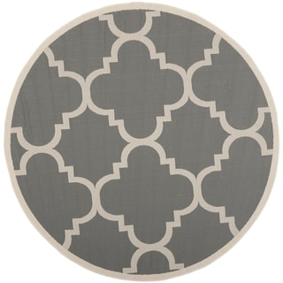 Safavieh Indoor/Outdoor Courtyard Gray/Beige Contemporary Rug (7'10 Round)
