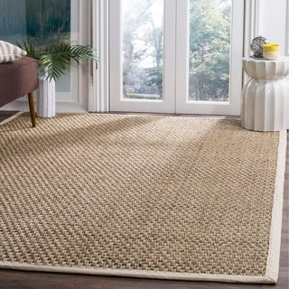 Safavieh Casual Natural Fiber Natural and Ivory Border Seagrass Rug (9' x 12')