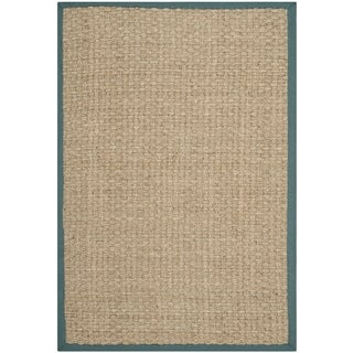 Safavieh Casual Natural Fiber Natural and Light Blue Border Seagrass Rug (5' x 8')