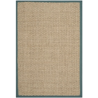 Safavieh Casual Natural Fiber Natural and Light Blue Border Seagrass Rug (8' x 10')