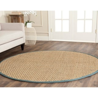 Safavieh Casual Natural Fiber Natural and Light Blue Border Seagrass Rug (6' Round)