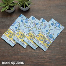 Light Blue/ Yellow 'Lisa' Printed Tablecloth or Set of 4 Napkins