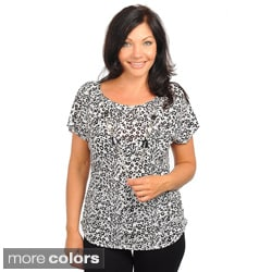 Stanzino Women's Plus Short Sleeve Animal Print Jeweled Top