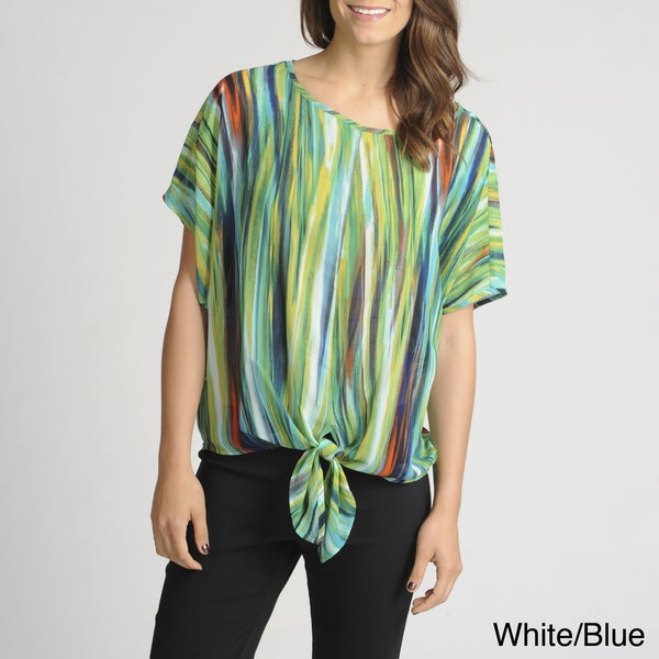 Thesis Women's Striped Tie-hem Sheer Blouse
