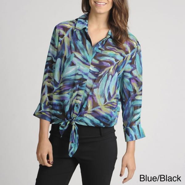 Thesis Women's Abstract Print Sheer Blouse