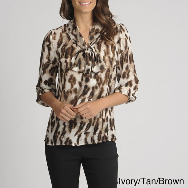Thesis Women's Animal Print Tie-neck Sheer Blouse