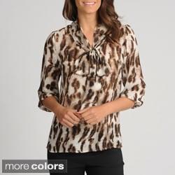 Thesis Women's Animal Print Tie-neck Sheer Blouse