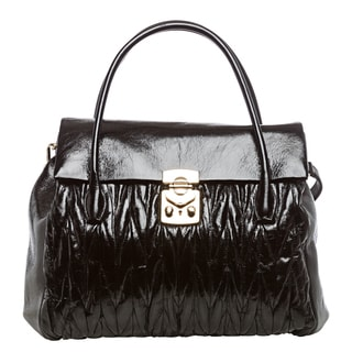 Miu Miu 'Matelasse Lux' Black Glazed Leather Satchel