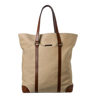 Burberry Honey Cotton Gabardine and Leather Tote