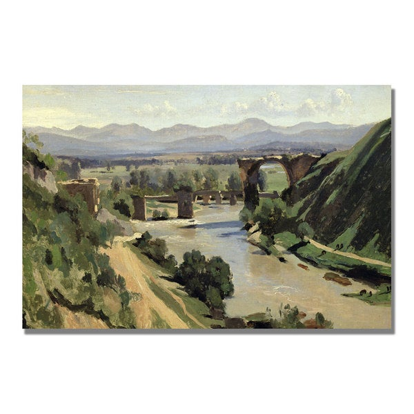 Jean Baptiste Corot 'The Bridge of Augustus over the Nera' Canvas Art