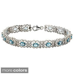 Oravo Sterling Silver Oval-cut Gemstone Bracelet