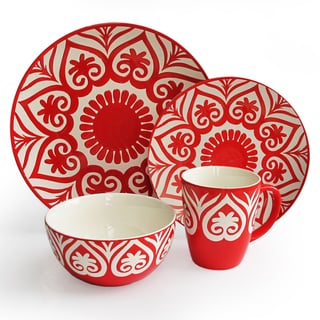 Oragami Red 16-piece Dinnerware Set