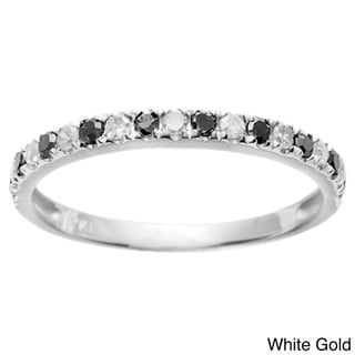 10k Gold 1/4ct TDW Black and White Stackable Diamond Band (G-H, I1-I2)