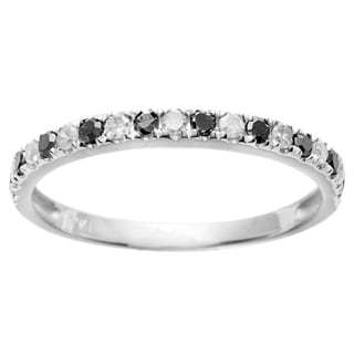 10k White Gold 1/4ct TDW Black and White Stackable Diamond Band (G-H, I1-I2)