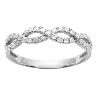 10k White Gold 1/2ct TDW Braided Stackable Diamond Band (G-H, I1-I2)