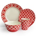 American Atelier Plaid Red 16-piece Dinnerware Set