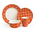 American Atelier Trellis Orange 16-piece Dinnerware Set