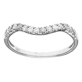 10k White Gold 1/3ct TDW Diamond Pave Curved Band (G-H, I1-I2)