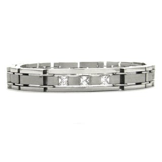 Obsessed Jewelry Stainless Steel Cubic Zirconia Brushed Bracelet