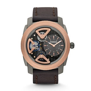 Fossil Men's 'Mechanical Twist' Leather Strap Watch