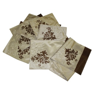 Embroidered Leaf Placemat and Table Runner Set (Set of 6)