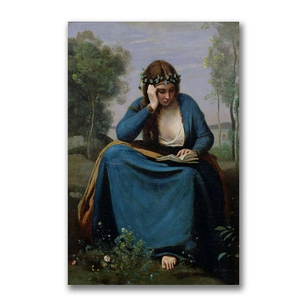 Jean Baptiste Corot 'The Reader Crowned with Flowers' Canvas Art