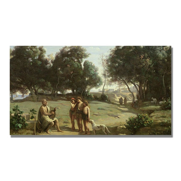 Jean Baptiste Corot 'Homer and the Shepard' Canvas Art